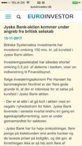 Hedgefonde regner med jyske bank aktier falder